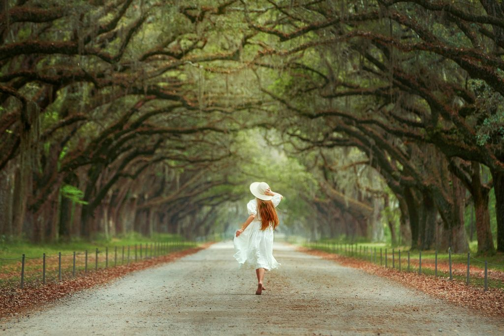 A woman in a white dress and a white sun hat with long hair running down a dirt lane with live oak trees on either side. There is Spanish moss hanging from the trees. Beneath the trees is green grass and dead leaves. A beautiful Savannah photo spots.