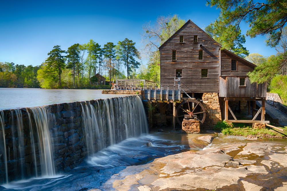 waterfall next to the old wooden mill, things to do on raleigh