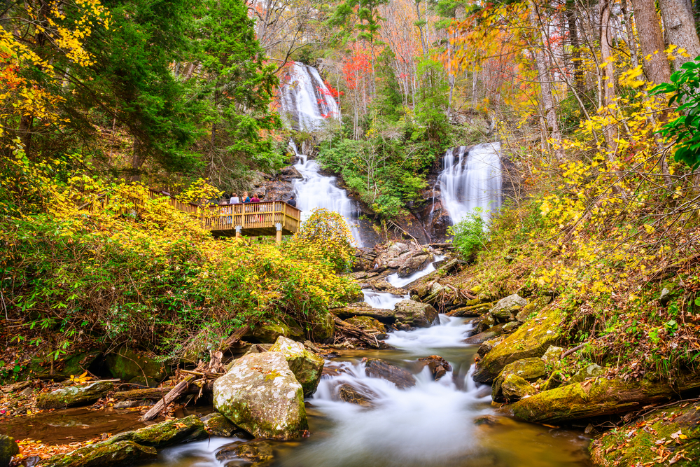 Photo of the Anna Ruby Falls in autumn.