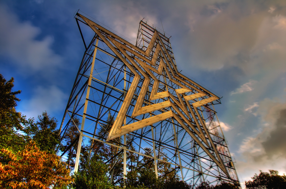 Close up photo of the Mill Mountain Star and one of the best things to do in Virginia!