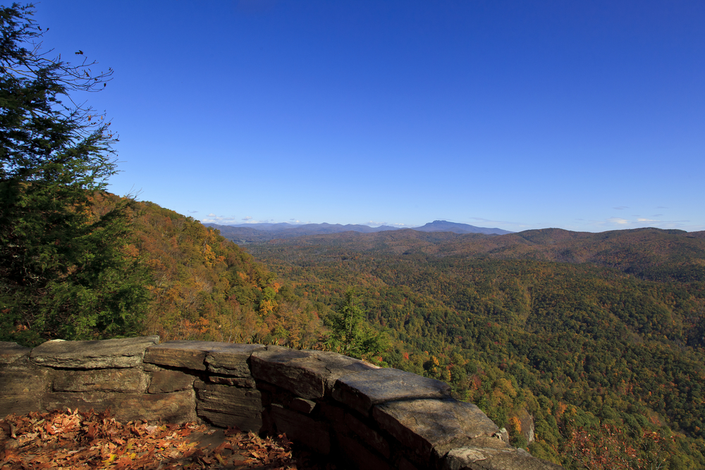 A picture of a short stone wall separating you from the valleys and mountains of the Blue Ridge Parkway on the Chestoa Overlook.