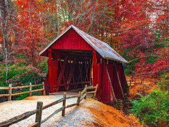 covered bridge in south carolina in the fall