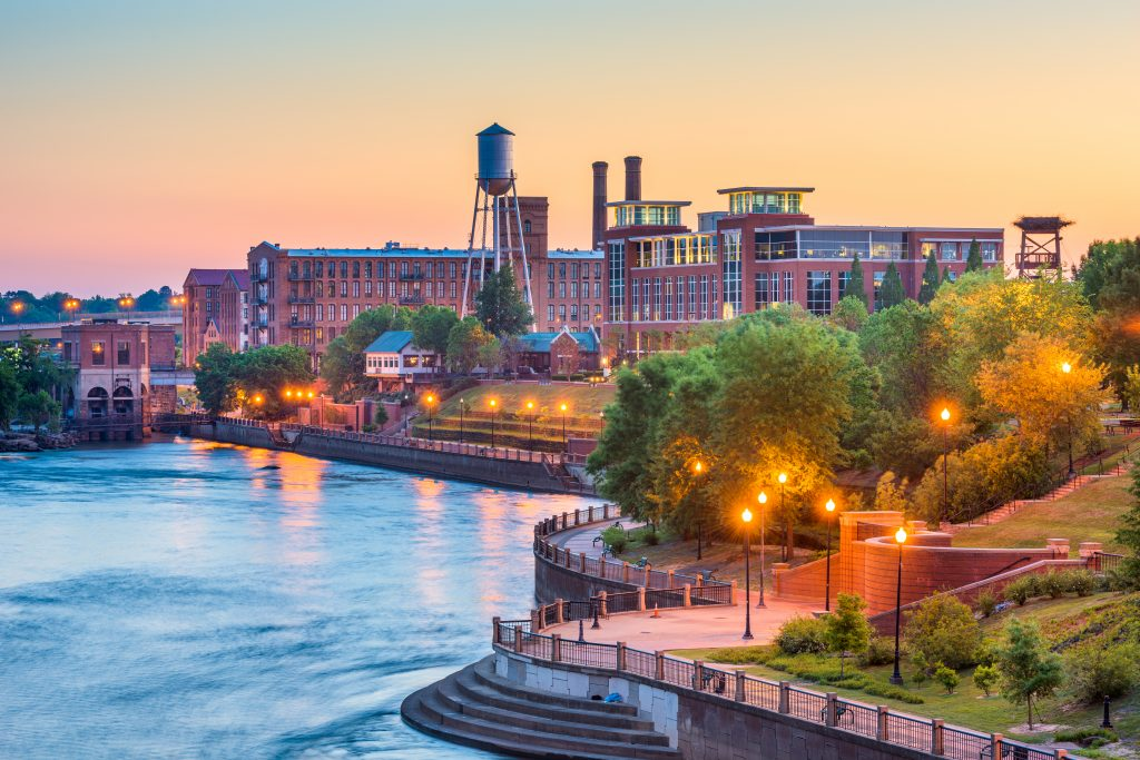 Photo of the RiverWalk at dusk, one of the best things to do in Columbus Georgia.