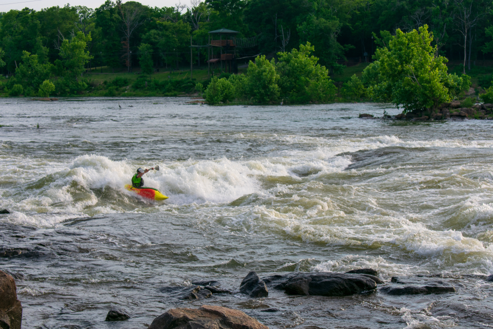 Photo of a kayak rafting down the Chattahoochee River, one of the best things to do in Helen.
