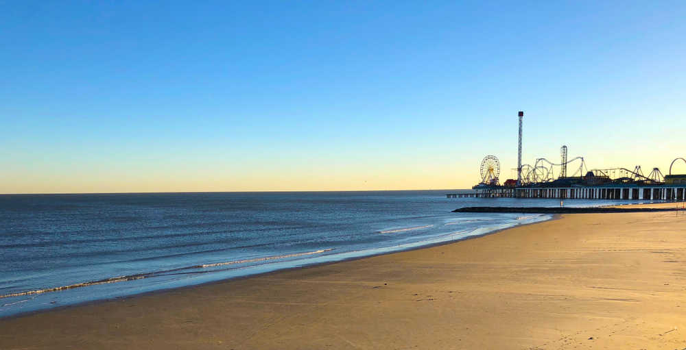 beach with an amusement park in the background