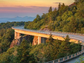 Linn Cove Viaduct at sunset on the blue ridge parkway