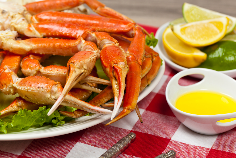 snow crab legs with butter sauce