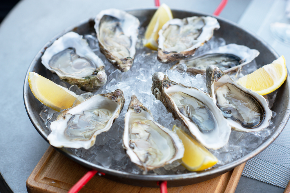 oysters on half shell in ice with lemon wedge