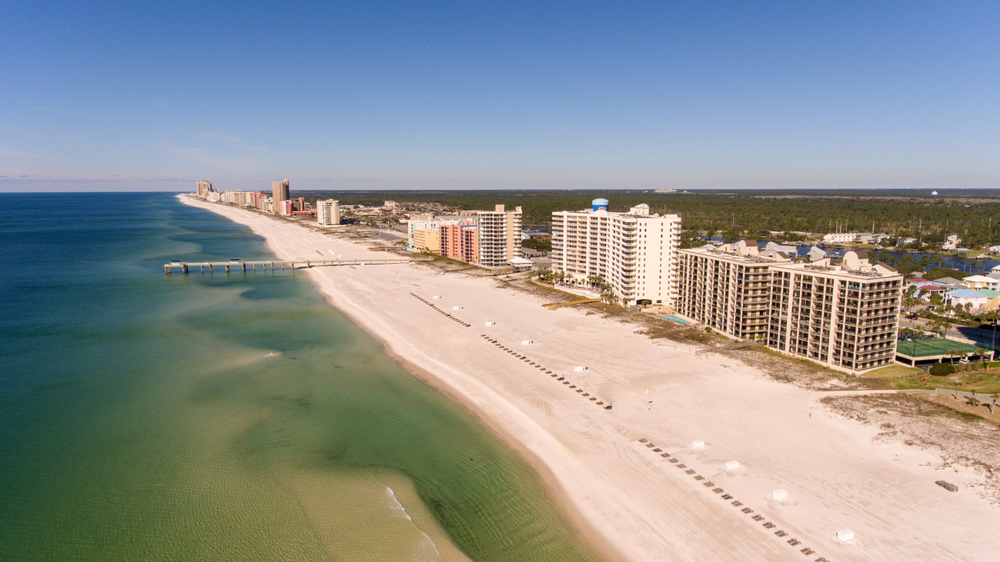 ariel photo of Orange Beach, one of the best beaches in the south