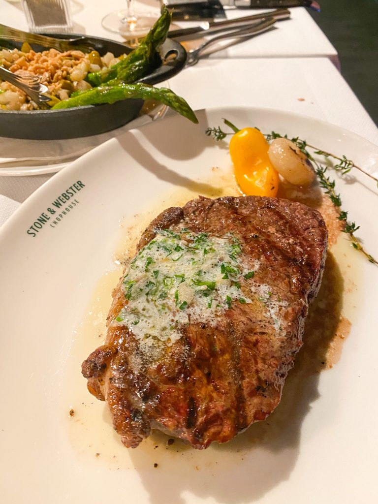 A delicious steak awaits to be eaten at Stone and Webster in the Plant Riverside District.