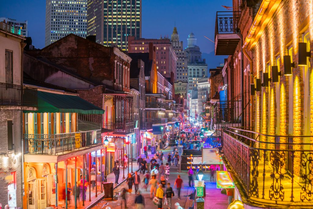 The French Quarter Bourbon Street lit up at night