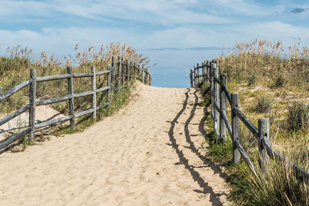 sandy bridge lines by fence and sea oats