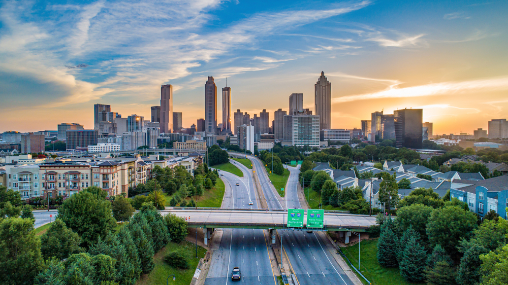 View of the downtown city of Atlanta from the air