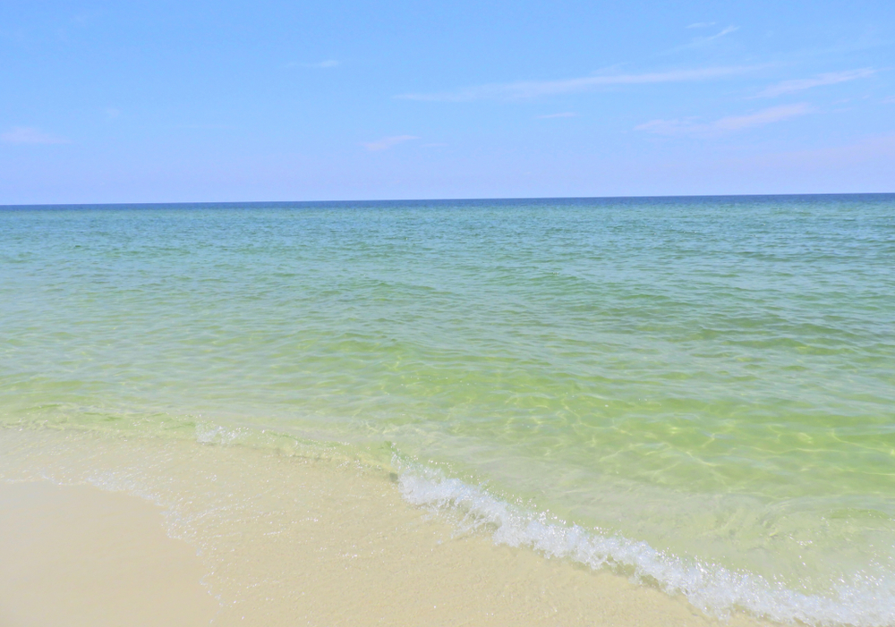 crystal clear water on beach