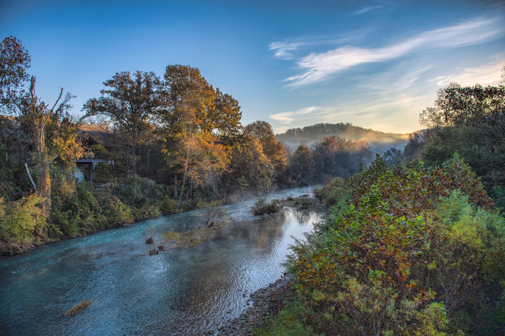 A picture of a river running through a tunnels of autumn kissed trees on a misty morning.