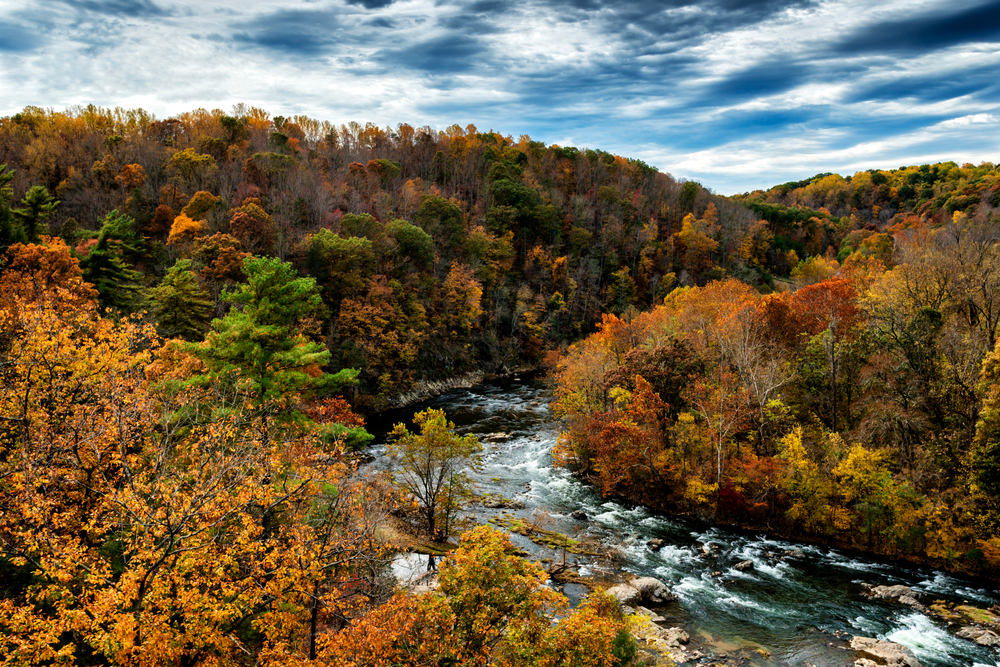 Roanoke River surrounded by fall foliage.