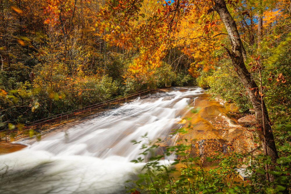 Sliding Rock is one of the best waterfalls near Asheville for families.