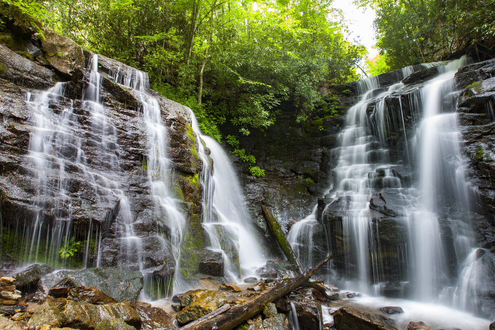 Soco Falls is a really cool double waterfall in North Carolina.