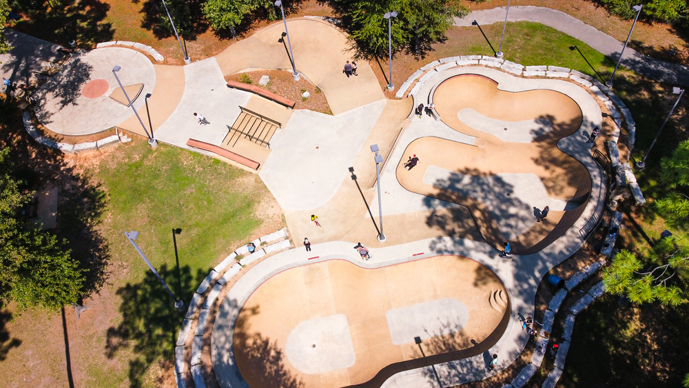 One of the many things to do in Conroe, Texas is visit one of their many parks like this skate park seen from an aerial point of view.