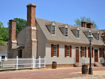 building in colonial williamsburg on a bright sunny day