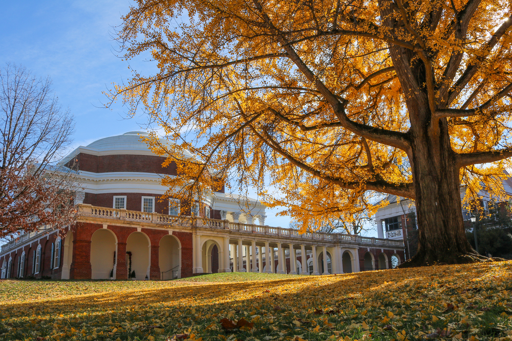 Fall foliage on the campus at the University of Virginia, one of the best places to experience fall in Virginia.