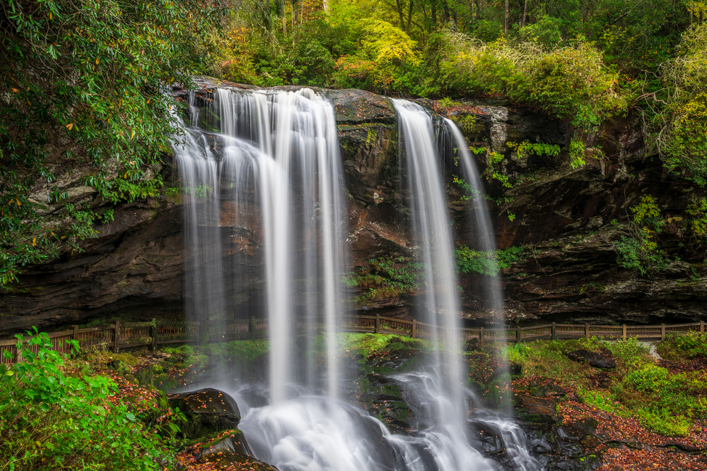 Dry Falls is a great waterfall hike near Asheville.
