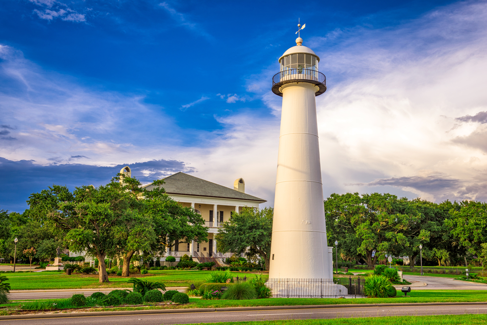 white lighthouse by the road in Biloxi