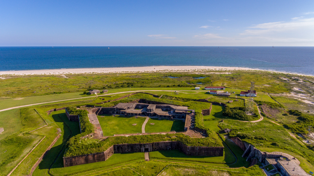 a fort near the waters edge
