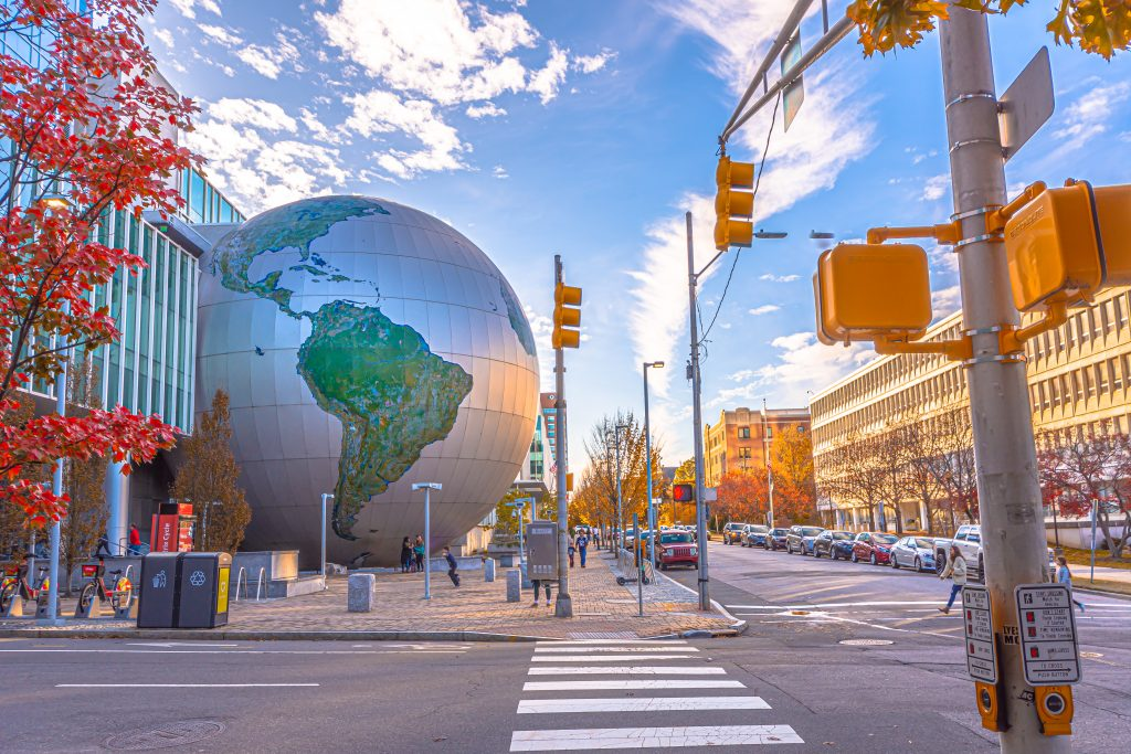 The North Carolina Museum of Natural Sciences has a gigantic globe sculpture just outside.