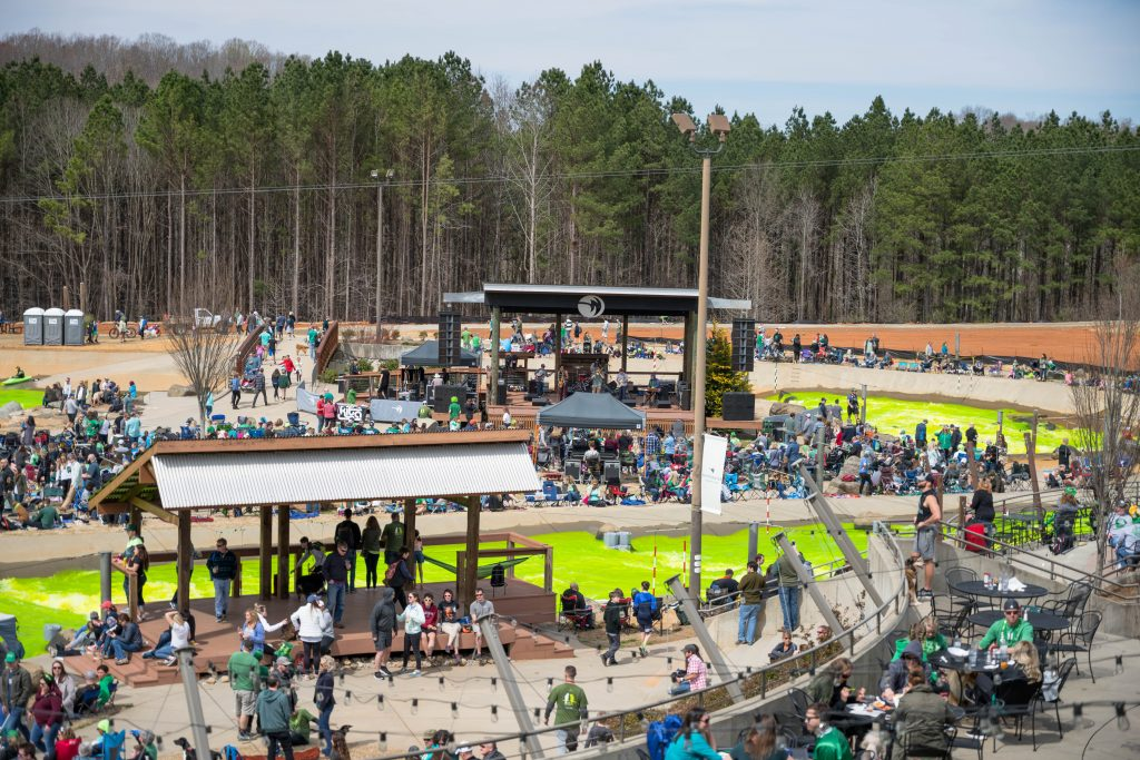 Guests and patrons dye the waters of the Whitewater Center green for St. Patrick's Day!