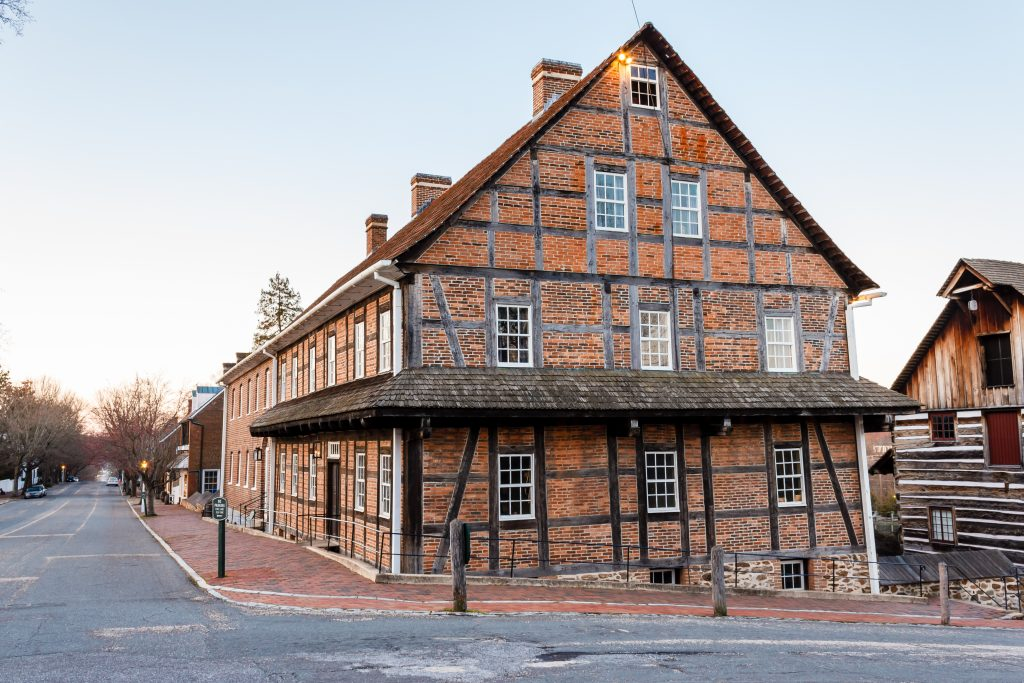 One of the historic old homes from the colonial period in Historic Old Salem