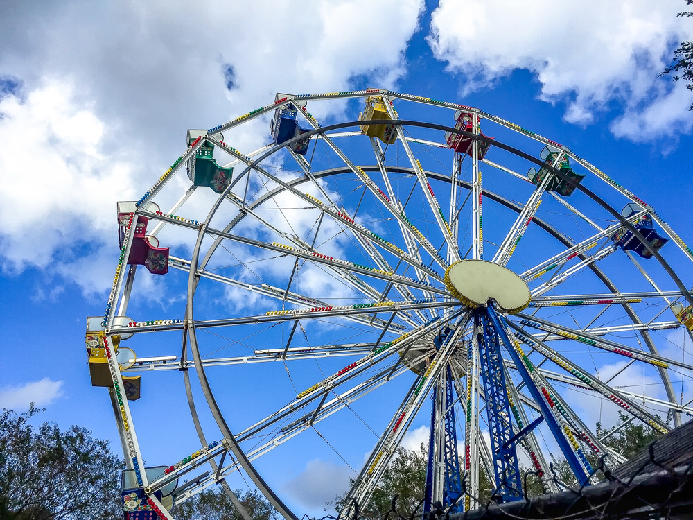 Low angle view of a fairground wheel at a state fair