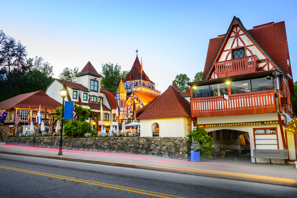 A town in Georgia that is full of Bavarian architecture. It has cobblestone streets and antique style lamp lights.