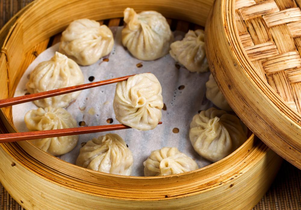 A bamboo basket of dim sum
