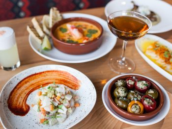 a spanish style tapas dinner with olives, ceviche, wine and more