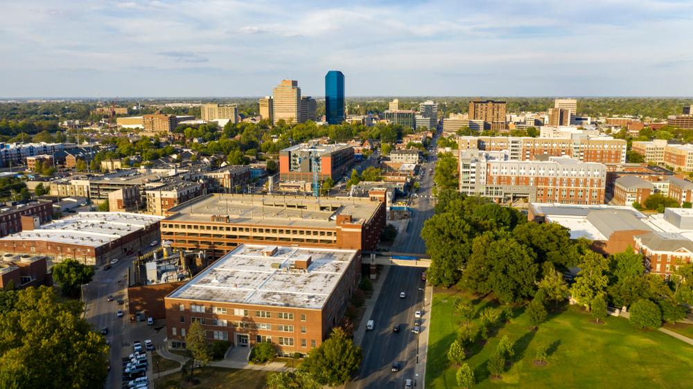 photo of downtown Lexington kentucky with green trees