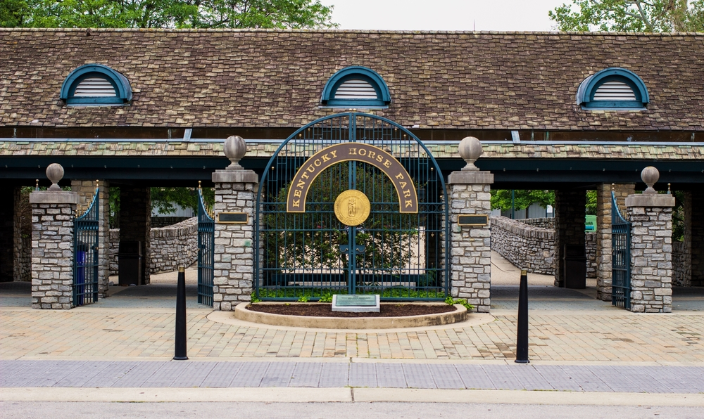 entrance gates to the kentucky horse park, rock walls and architecture