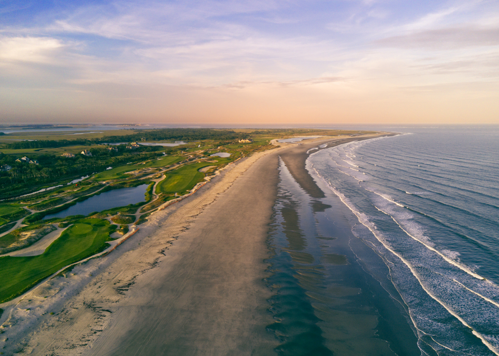 A panoramic view of The Ocean Course Golf Kiawah Island from a drone.