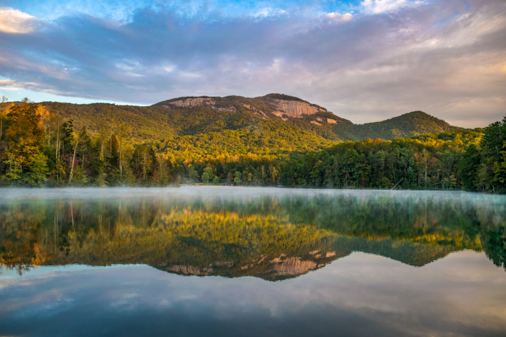 A panoramic view of Table Rock State Park one of the best places to visit in south carolina