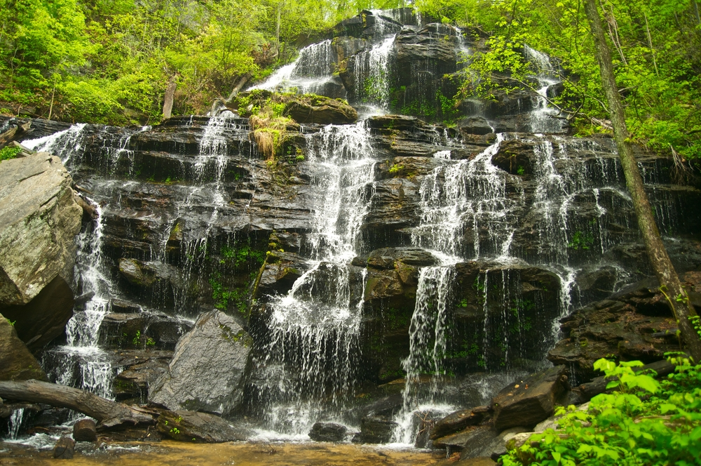 Issaqueena Falls surrounded by beautiful forest in south carolina