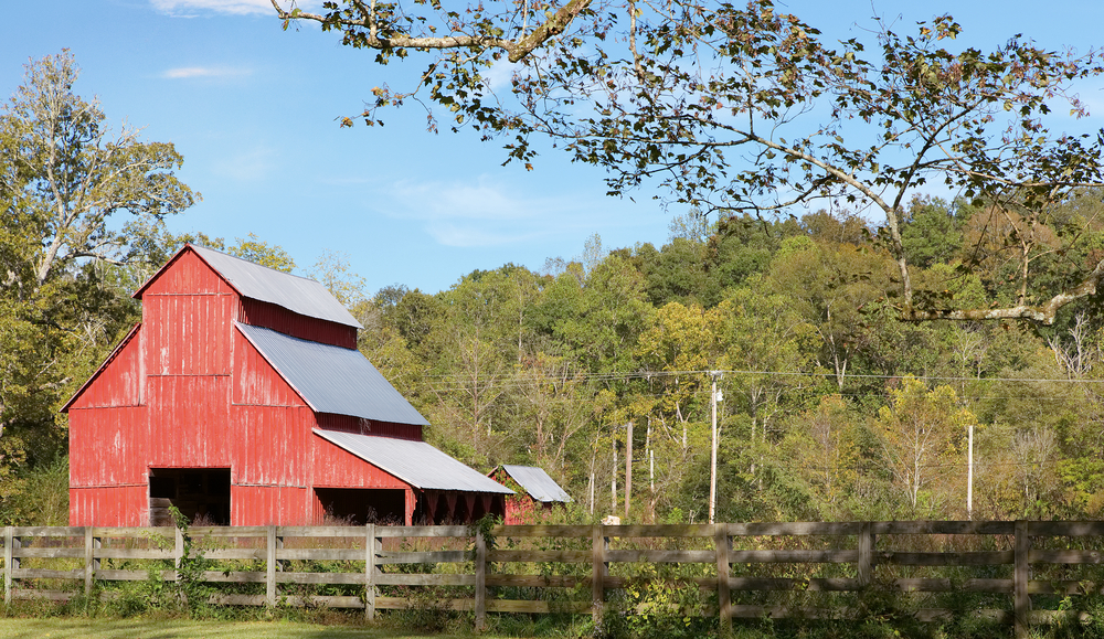 A large red barn in a field surrounded by trees. The trees have green and yellow leaves. There is a wooden fence in front of the barn.