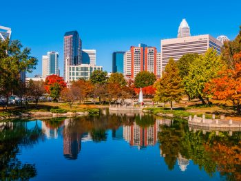 Skyline of Charlotte, NC on a sunny day.