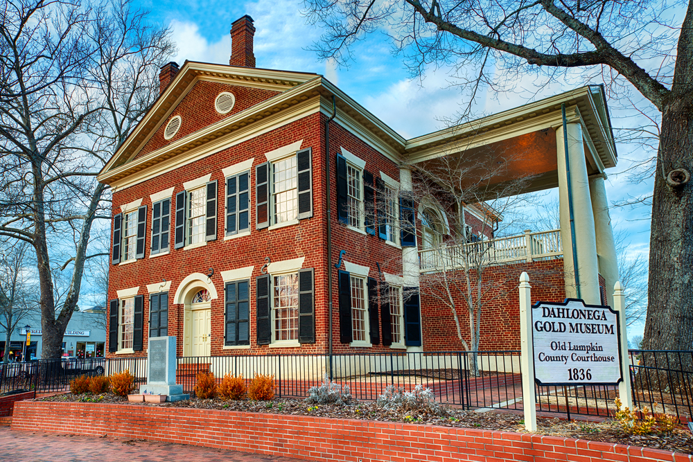 Front view of the Dahlonega Gold Museum, one of the best things to do in Blue Ridge.