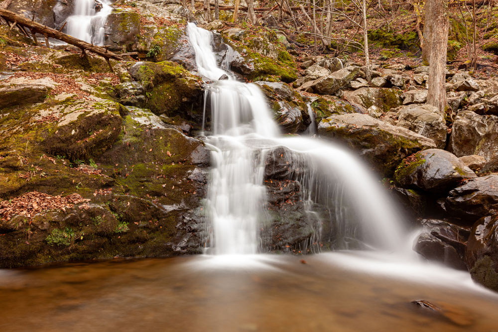 A picture of the cascading Dark Hallow Falls pouring into a pool of water.