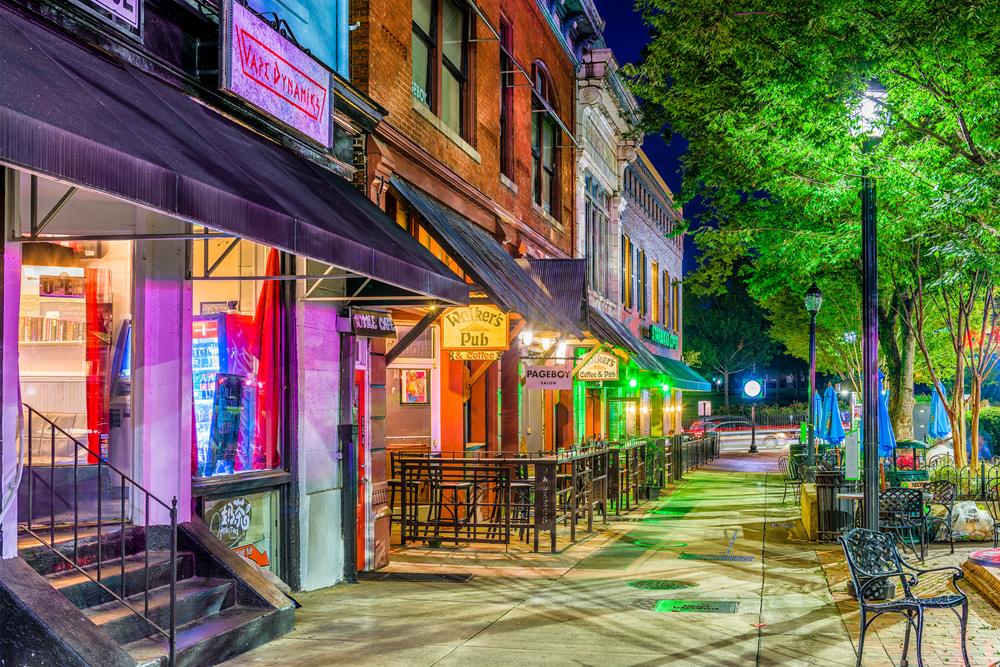 Downtown streetscape in Athens, GA at night.
