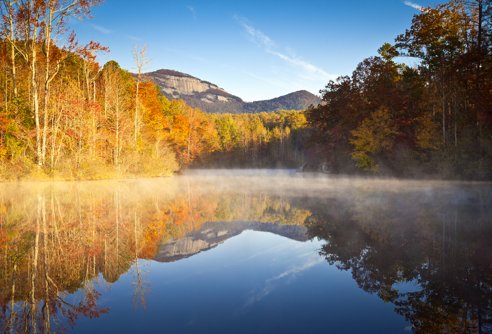 Photo of table Rock Mountain and foliage-covered trees reflecting on a lake within Table Rock State Park
