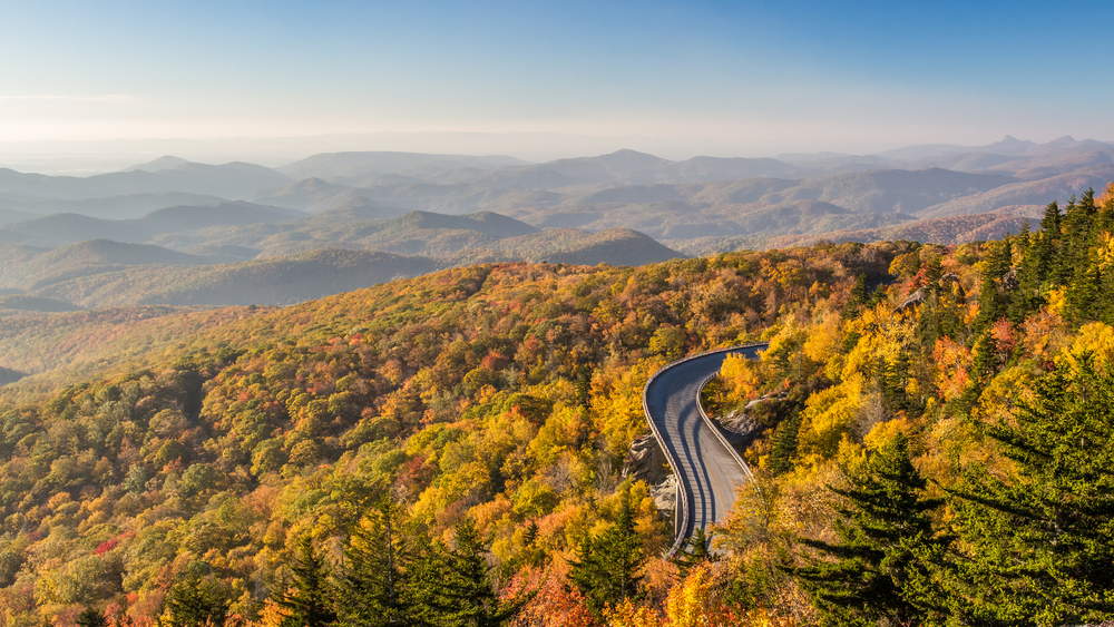 Photo of a winding road going through blue ridge mountains, surrounded by fall foliage with expansive views of the mountains in the backround.