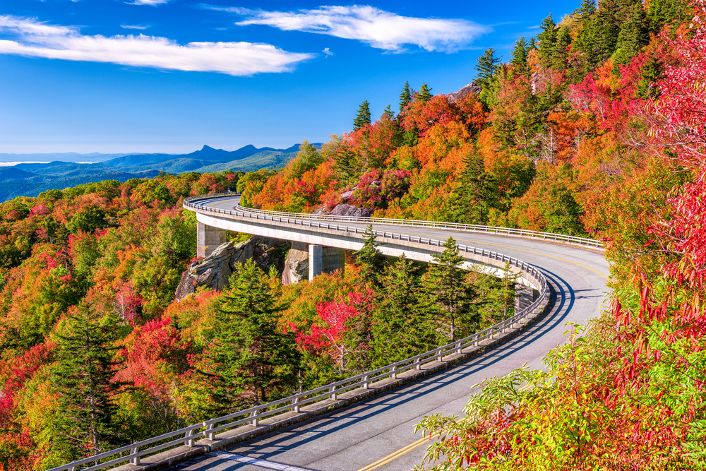 Photo of the Linn cove Viaduct Bridge curving around Grandfather Mountain, surrounded by fall-colored trees and mountains in the distance.