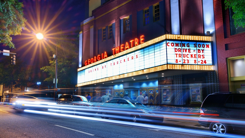Nighttime view of the exterior of the Georgia Theatre.