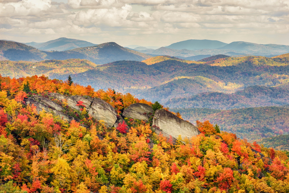 A photo taken from Grandfather Mountain that shows autumn trees covering the rolling mountains on a foggy day.